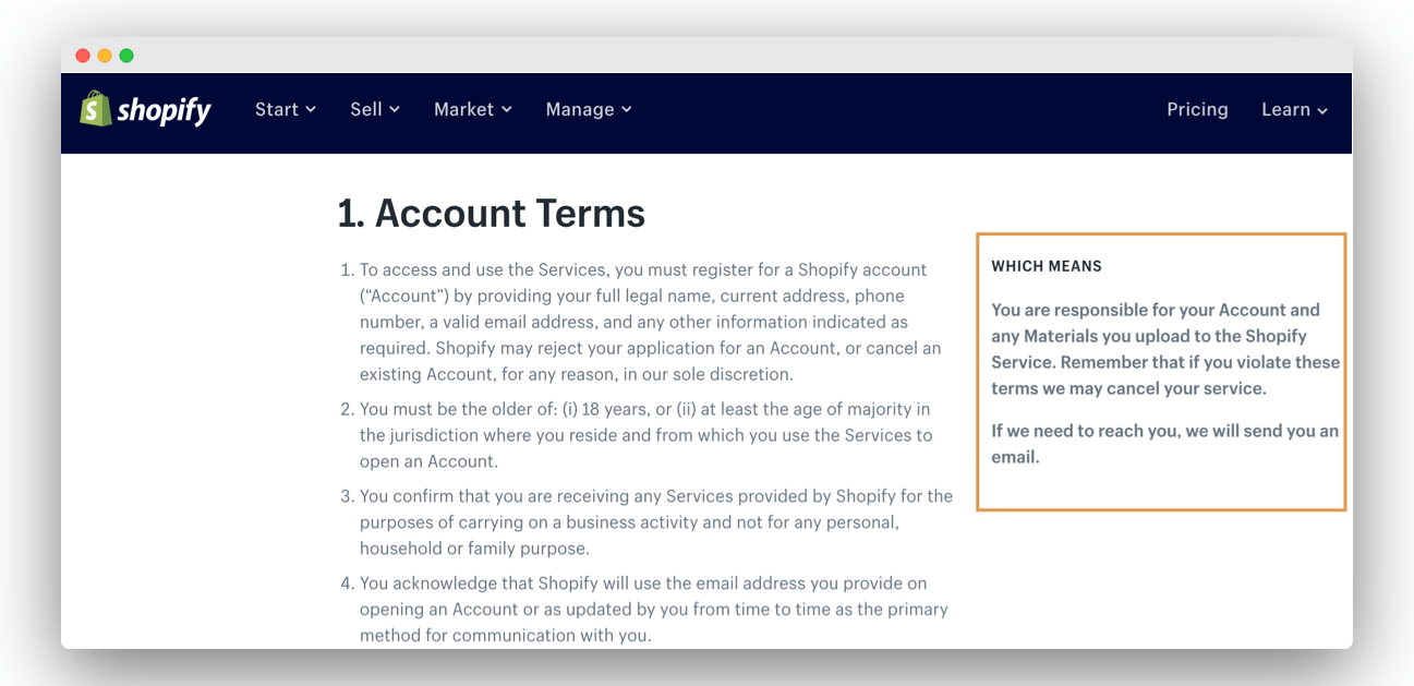 shopify terms conditions