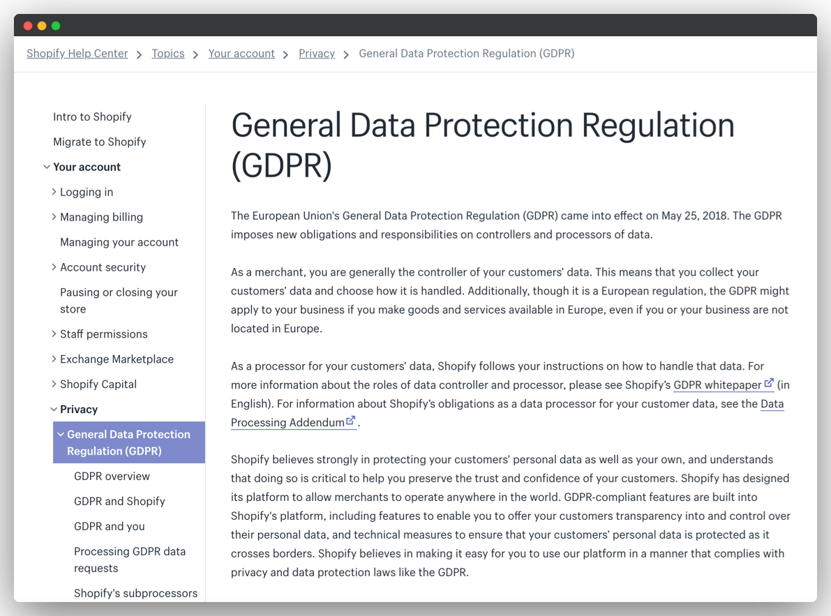 Shopify's GDPR compliance section in user manual